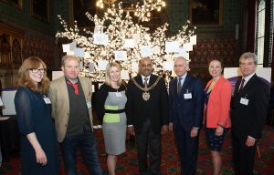 (l to r) Dr Sandy McBride, A Man Who Was Once In An Episode Of Holby City, Dr Christine Bundy, The Mayor Of Manchester, Professor Chris Griffiths, Helen McAteer, Paul Bristow.