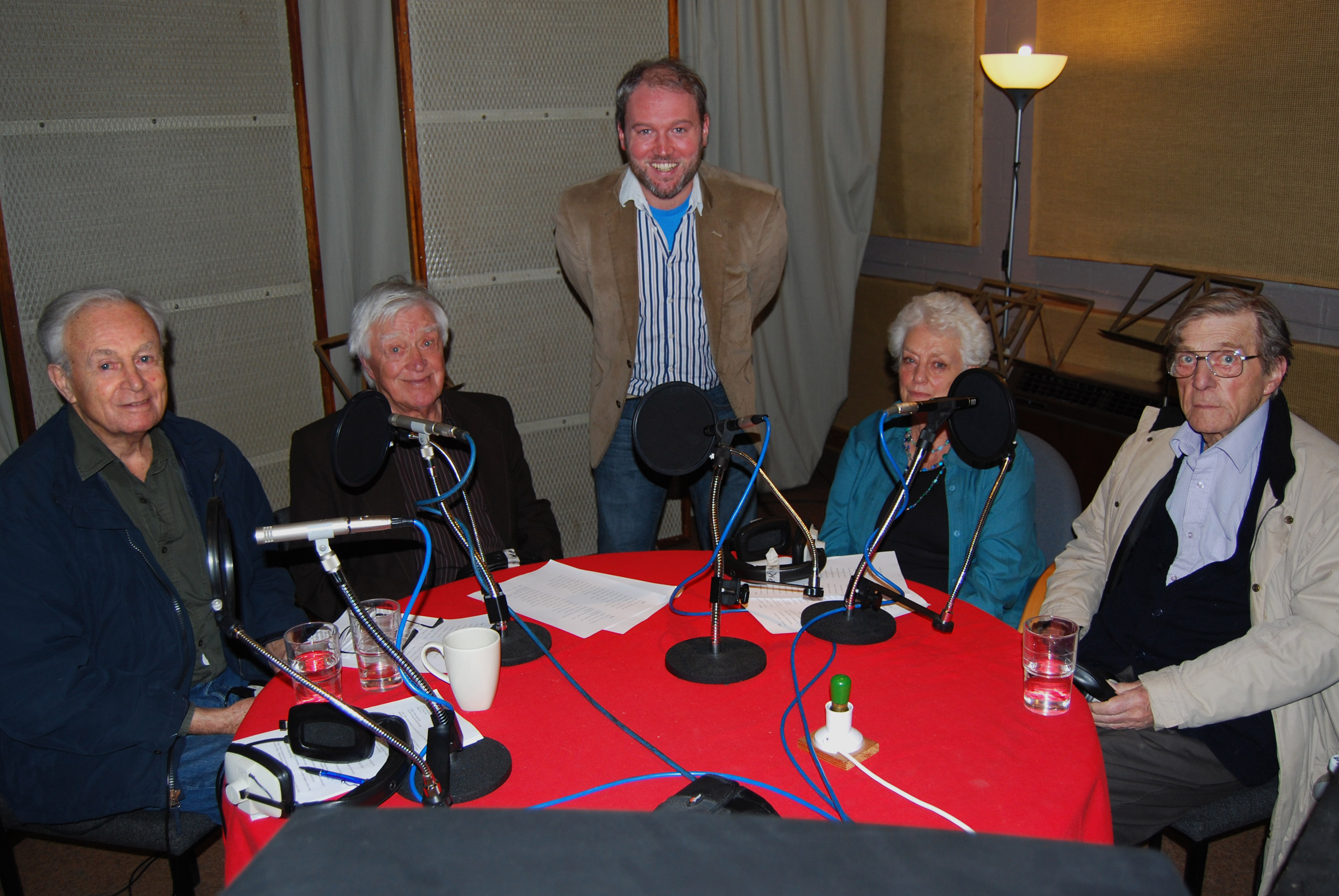 Sonia with William Russell, Joe Greig, Toby Hadoke and Ray Cusick on the DVD commentary recording for The Sensorites. Photo: Simon Harries.