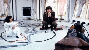 Tom Baker and Elisabeth Sladen, both much admired by their director, relax whilst making one of the greatest Doctor Who stories of all time, The Ark in Space - the first to be helmed by the late Rodney Bennett