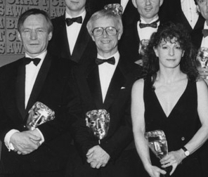 Duncan Brown (left) collecting a BAFTA in 1993.
